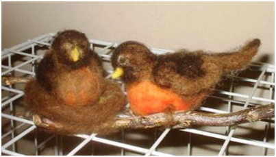 Sandys needlefelted birds